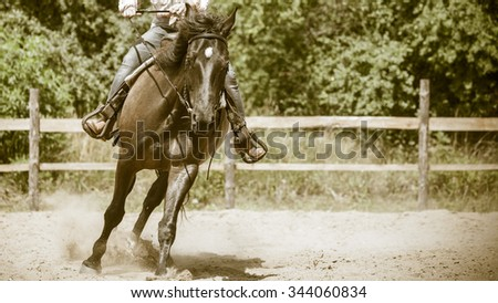 Active jockey training riding horse. Equestrian sport competition and activity. - stock photo