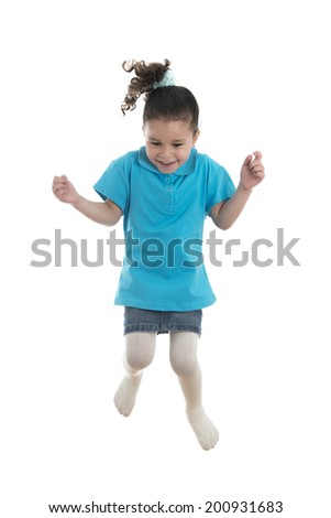 Active Joyful Little Girl Jumping with Joy Isolated on White Background