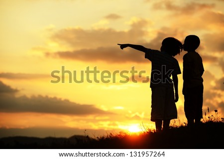 Active kids having happy time looking for their better future - stock photo