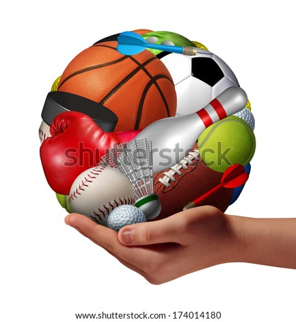 Active lifestyle concept and fun and games symbol with a hand holding a group of sports equipment shaped as a ball as a fitness metaphor offering physical activity recreation to youth as a pastime. - stock photo