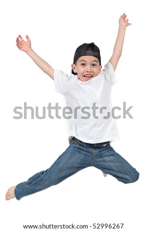 Active Little boy jumping on isolated white background - stock photo