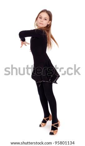 Active little girl dancing, isolated - stock photo