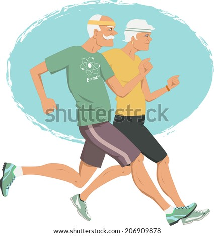 Active retirement. Elderly couple jogging - stock photo