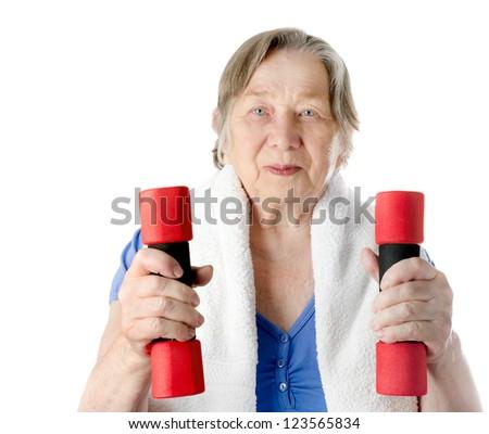 active senior woman isolated on white - stock photo
