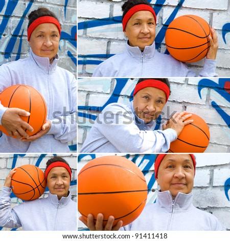 Active senior woman playing basketball, collage - stock photo