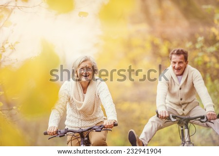 Active seniors on bikes in autumn nature - stock photo