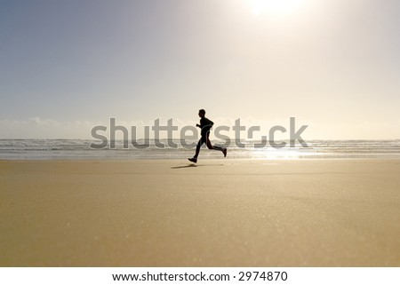 active sport running men in beach