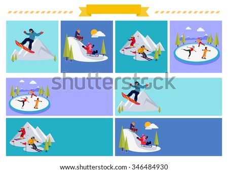 Active winter vacation extreme sports. Sledding and sking, skating and mountain, snow and recreation, travel outdoor, snowboarder athlete. Extreme sport, sledding, sking, skating. Raster version - stock photo