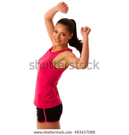 Active woman doing aerobics for a cardio training dancing