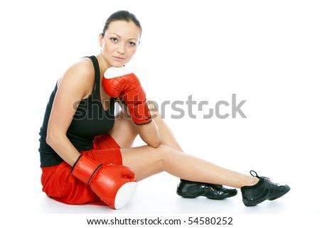 active woman female boxer - stock photo