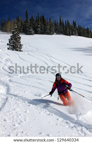 Active woman smiling as she skis with pine trees in the background, Utah, USA. - stock photo