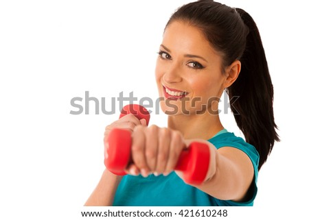 active woman with dumbbells workout in fitness gym isolated over white background - stock photo