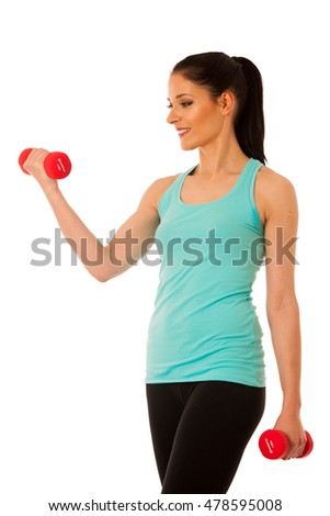 active woman with dumbbells workout in fitness gym isolated over white background