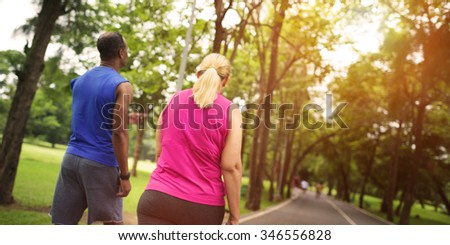 Activity Cardio Cheerful Couple Exercise Togetherness Concept - stock photo