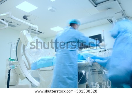 Activity of doctors team in hospital cathlab during surgery