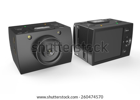 Acton camera isolated on white background - stock photo
