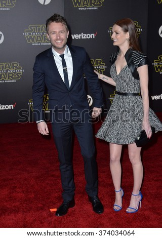 "Actor Chris Hardwick & model Lydia Hearst at the world premiere of ""Star Wars: The Force Awakens"" on Hollywood Boulevard. December 14, 2015  Los Angeles, CA Picture: Paul Smith / Featureflash - stock photo"