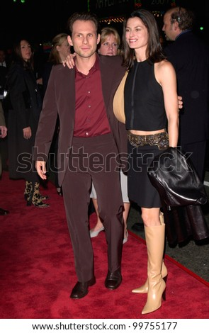 Actor CHRISTIAN SLATER & wife at the world premiere of Charlie's Angels, at the Mann's Chinese Theatre in Hollywood. 22OCT2000.  Paul Smith / Featureflash