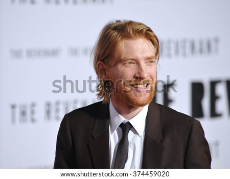 "Actor Domhnall Gleeson at the Los Angeles premiere of his movie ""The Revenant"" at the TCL Chinese Theatre, Hollywood. 