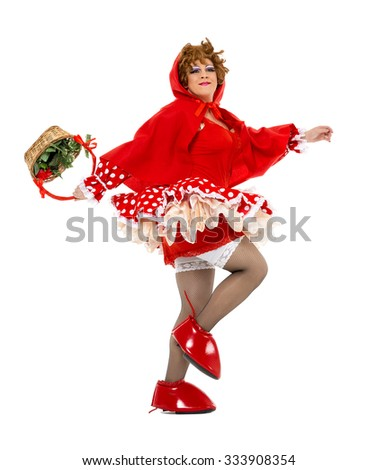 Actor Drag Queen Dressed as Little Red Riding Hood, on white background