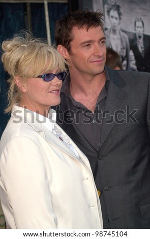 Actor HUGH JACKMAN & actress wife DEBORRA-LEE FURNESS at the Los Angeles premiere of his new movie Swordfish. 04JUN2001.   Paul Smith/Featureflash - stock photo
