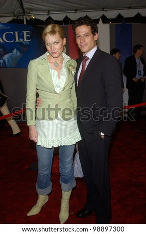 Actor IOAN GRUFFUDD & actress ALICE EVANS at the world premiere, in Hollywood, of Miracle. February 2, 2004