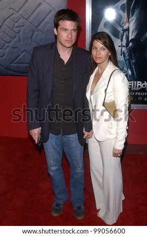 Actor JASON BATEMAN & wife at the Los Angeles premiere of Hellboy. March 30, 2004