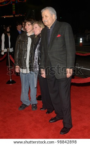 Actor JOHN ANISTON (father of Jennifer Aniston) & wife & son at the world premiere, in Hollywood, of Jennifer's new movie Along Came Polly. January 12, 2004 - stock photo