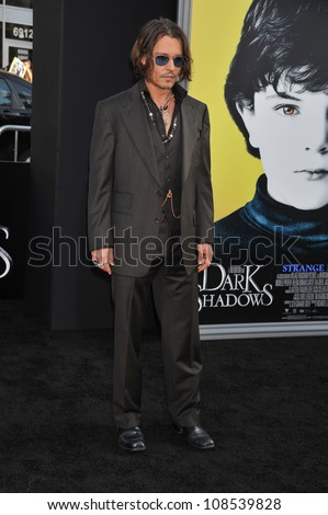 Actor Johnny Depp arrives at the premiere of Warner Bros. Pictures' 'Dark Shadows' at Grauman's Chinese Theatre.