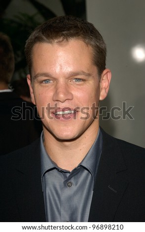 Actor MATT DAMON at the world premiere, in Hollywood, of his new movie The Bourne Supremacy. July 15, 2004 - stock photo