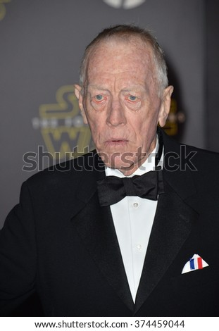 "Actor Max von Sydow at the world premiere of ""Star Wars: The Force Awakens"" on Hollywood Boulevard.