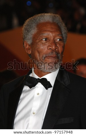 Actor MORGAN FREEMAN at the gala screening of Sin City at the 58th Annual Film Festival de Cannes. May 18, 2005 Cannes, France.  2005 Paul Smith / Featureflash - stock photo
