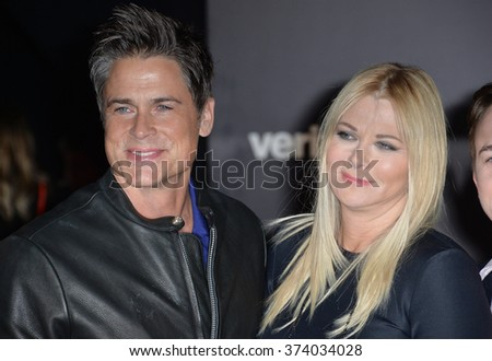 "Actor Rob Lowe & wife & sons at the world premiere of ""Star Wars: The Force Awakens"" on Hollywood Boulevard. December 14, 2015  Los Angeles, CA Picture: Paul Smith / Featureflash - stock photo"