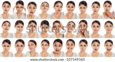 actor's face, a compilation of emotions on white