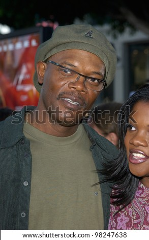 Actor SAMUEL L. JACKSON & daughter at the world premiere, in Los Angeles, of his new movie XXX (Triple-X). 05AUG2002.   Paul Smith / Featureflash - stock photo