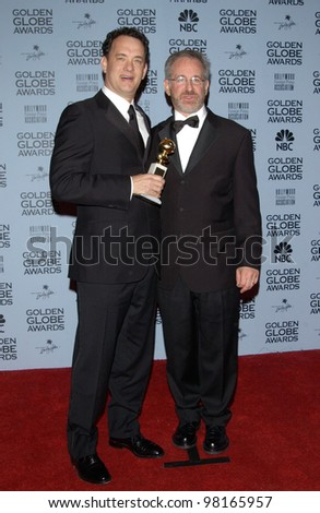 Actor TOM HANKS (left) & director STEVEN SPIELBERG at the 59th Annual Golden Globe Awards in Beverly Hills. 20JAN2002  Paul Smith/Featureflash
