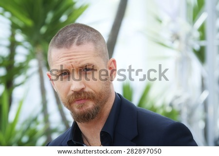 Actor Tom Hardy attends the 'Mad Max : Fury Road' Photocall during the 68th annual Cannes Film Festival on May 14, 2015 in Cannes, France. - stock photo