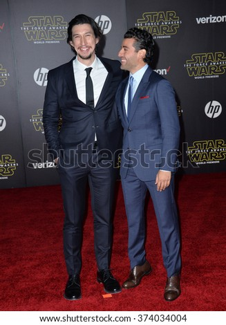 "Actors Adam Driver & Oscar Isaac at the world premiere of ""Star Wars: The Force Awakens"" on Hollywood Boulevard. December 14, 2015  Los Angeles, CA Picture: Paul Smith / Featureflash - stock photo"
