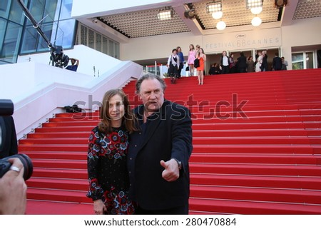 Actors Gerard Depardieu and Isabelle Huppert attend the 'Valley Of Love' premiere during the 68th annual Cannes Film Festival on May 22, 2015 in Cannes, France. - stock photo
