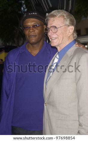 Actors SAMUEL L. JACKSON (left) & STEVE FORREST at the world premiere, in Los Angeles, of Jackson's new movie S.W.A.T. July 30, 2003  Paul Smith / Featureflash - stock photo