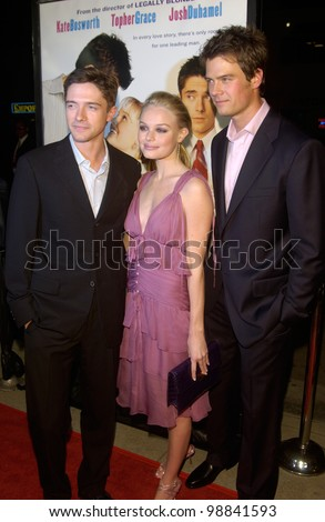 Actors TOPHER GRACE (left) & JOSH DUHAMEL with actress KATE BOSWORTH at the Los Angeles premiere of their new movie Win a Date With Tad Hamilton. January 9, 2004  Paul Smith / Featureflash