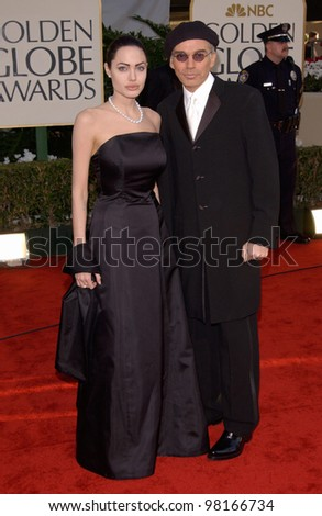 Actress ANGELINA JOLIE & actor husband BILLY BOB THORNTON at the 59th Annual Golden Globe Awards in Beverly Hills. 20JAN2002  Paul Smith/Featureflash