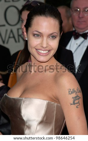Actress ANGELINA JOLIE at the 2001 Golden Globe Awards at the Beverly Hilton Hotel. 21JAN2001.   Paul Smith/Featureflash - stock photo