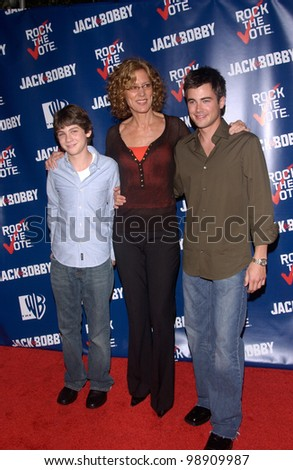 Actress CHRISTINE LAHTI with actors LOGAN LERMAN (left) & MATT YOUNG - stars of TV series Jack & Bobby - at party at Warner Bros Studios, Hollywood, for Rock the Vote. September 29, 2004