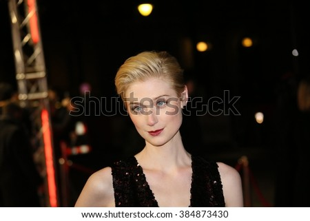 Actress Elizabeth Debicki attends the 'The Night Manager' premiere during the 66th Berlinale International Film Festival Berlin at Haus der Berlinale on February 18, 2016 in Berlin, Germany. - stock photo