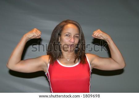 Actress Ella Joyce flexing muscles - stock photo