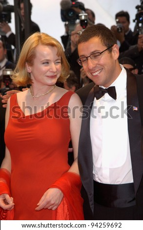 Actress EMILY WATSON with actor ADAM SANDLER at the premiere of their new movie Punch-Drunk Love which is in competition at the Cannes Film Festival. 19MAY2002.   Paul Smith / Featureflash
