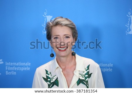 Actress Emma Thompson attends the 'Alone in Berlin' (Jeder stirbt fuer sich) photo call during the 66th Berlinale Film Festival Berlin at Grand Hyatt Hotel on February 15, 2016 in Berlin, Germany. - stock photo
