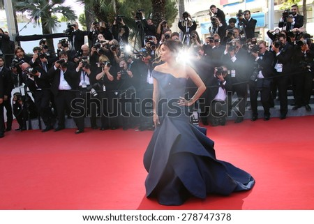 Actress Eva Longoria attends the Premiere of 'Carol' during the 68th annual Cannes Film Festival on May 17, 2015 in Cannes, France. - stock photo