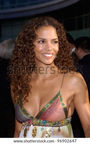 Actress HALLE BERRY at the world premiere, in Hollywood, of her new movie Catwoman. July 19, 2004
